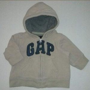 Baby Gap Tan Blue Logo Sweatshirt Hoodie Jacket